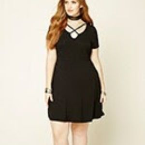 Forever 21 Short Sleeve Black Skater Dress